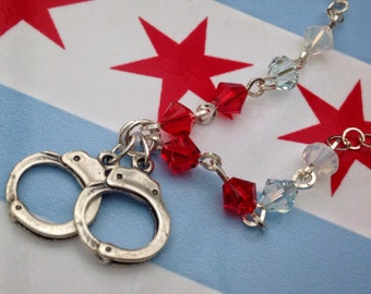 Chicago Cuffs Necklace, charm necklace, sterling silver, 20 inch necklace, handcuff necklace, Chicago, Chi Town, Chicago Police Survivors