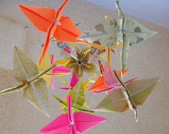 Crane Origami Mobile- Paper Cranes Mobile- Paper Flower Mobile- Baby Shower Decoration