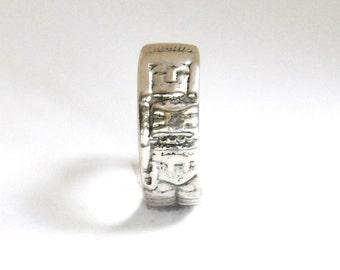 mayan ring, mexican ring,  aztec ring, silver ring , spoon ring