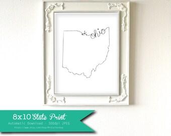 Printable Ohio State Art Print 8x10 Digital Wall Art Gift