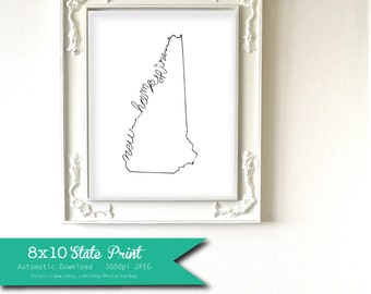 Printable New Hampshire State Art Print 8x10 Digital Wall Art Gift