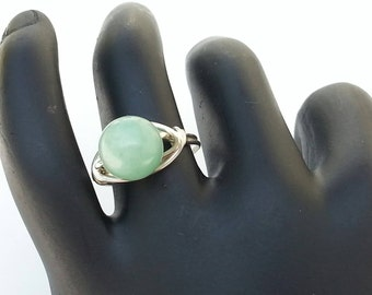 Green Aventurine Ring, Gemstone Ring Handmade, Wire Wrapped Green Aventurine Ring, Aventurine Gemstone Ring. Any Size.