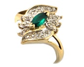 Vintage Emerald* Ring in 10K Gold with Diamonds • Marquise Cut Emerald with 16 Diamonds • 10K Gold Emerald & Diamond Ring • Size 6.75