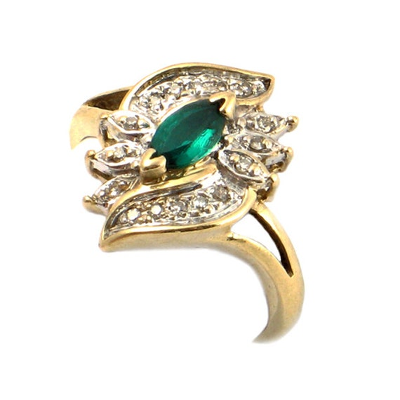 vintage emerald ring in 10k gold with diamonds marquise cut