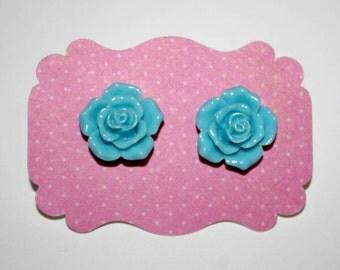 Sky Blue Flower Stud Earrings
