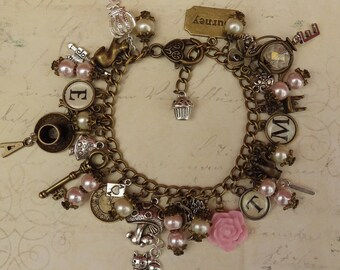 Alice In Wonderland Charm Bracelet, Pink Fairytale Bracelet, 'Tea Time',  Alice Jewelry