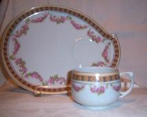 M Z Austria Snack plate and tea cup, pink roses, green and yellow boarder, gold accent