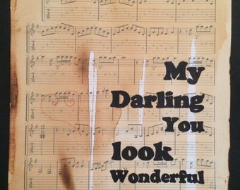 Eric Clapton, Wonderful tonight, song lyrics, typographic art, sheet music print, Gift for her, wall art,first dance gift, valentines gift,
