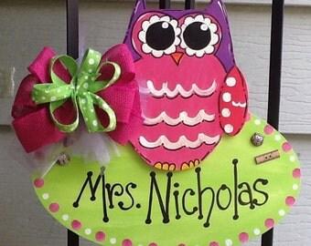 Teacher door hanger, teacher room door hanger, owl door hanger, teacher room sign, school door sign, school sign, school door sign