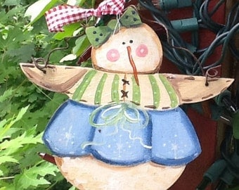 Snowman ornament, christmas ornament, christmas tree decor, wood ornament, country ornament, rustic ornament, primitive ornament