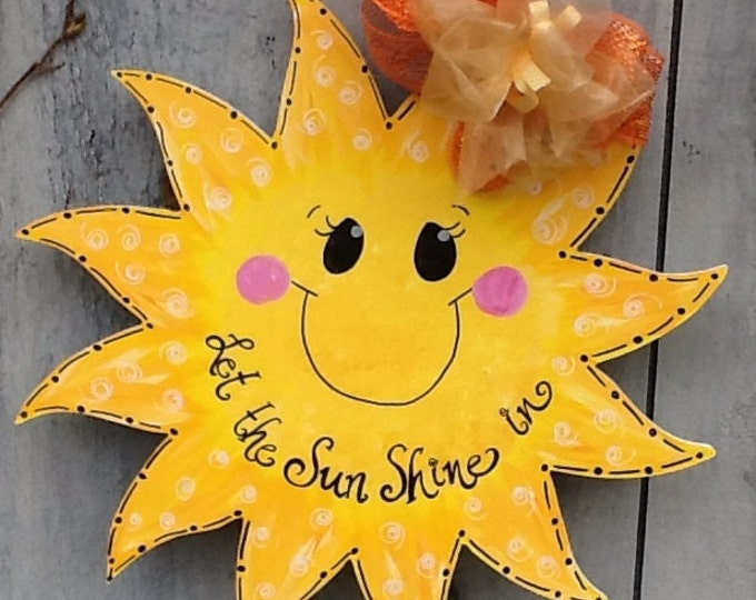 Sunshine sun summer door hanger, let the sunshine in sign, summer door sign, sun door sign, sun door hanger, summer door hanger, sunshine