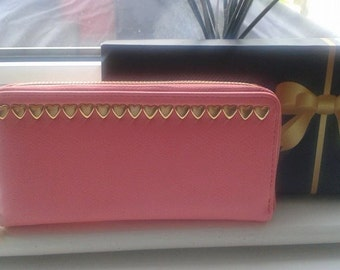 Womens customised pink heart studded clutch purse gift boxed