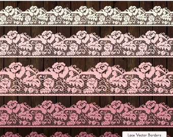 Professional Rose Lace Borders in Soft Pink - Lace Border, Lace Clipart, Lace Clip Art, Vector Lace, Wedding Clipart, Wedding Clip Art