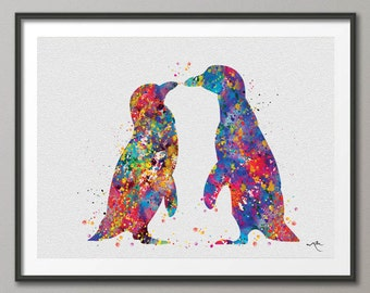Penguin Watercolor Art Print Wedding Gift Love Nursery Children's Wall Art Giclee Wall Decor Art Home Decor Wall Hanging Housewares [NO 402]