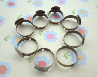 SALE--Ring--50 pcs Antique Bronze Ring Base Adjustable with 12 mm Round Pad