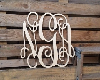 monogram christmas present large wooden wall art cursive wedding guest book capital vine font decor 18 in 20 in 24 in