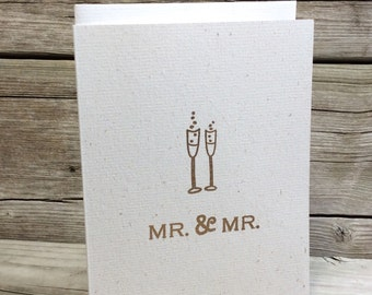 Mr. and Mr. Wedding Card. Gay Wedding card. Groom and Groom.  Hemp. Eco-Friendly. Embossed. Wedding Thank you note cards. Champagne glasses