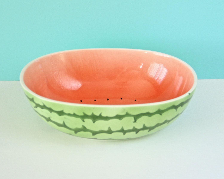 Vintage Watermelon Bowl Large Serving Ceramic Fruit Salad Bowl