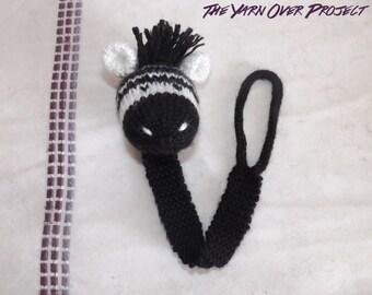 Hand-Knit Zebra Pacifier Clip - Knit Pacifier Leash - Pacifier Clip - Knitted Soother Clip