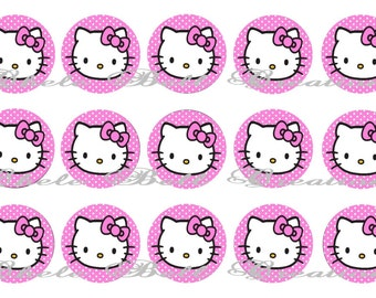 Kitty Pink Polka Dot 1inch Bottle Cap Images