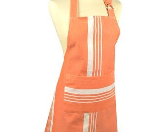 Kitchen 70x85cm fabric 100% cotton Pastel Orange-striped apron
