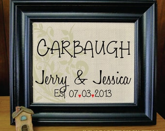 2nd Anniversary Gift on Cotton- Name and Est. Date, Gift for Anniversaries, Weddings, Engagements, Burlap Sign. (AED-E01)