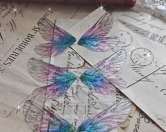Set of three  small Purple rainbow faerie wings