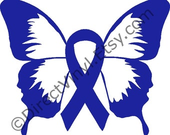 Blue Awareness Ribbon Butterfly Window Decal (Apraxia, Child Abuse, colon cancer, colorectal cancer, colitis, chron's, Huntingtons disease)
