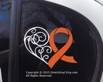 Orange Awareness Ribbon Heart Scroll Window Decal (Kidney Cancer, Kidney Disease, Leukemia, Melanoma, Multiple Sclerosis, Skin Cancer)