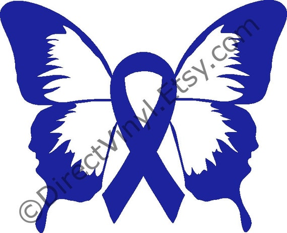 Blue Awareness Ribbon Butterfly Window Decal Apraxia Child