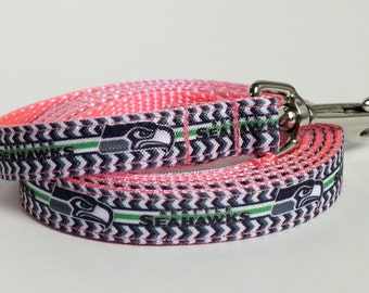 Seattle Seahawk Leash with pink webbing