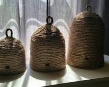 Handmade Primitive Bee Skep Cloche Garden Decor French Cottage Winnie Nursery