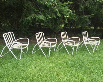 Vintage Mid Century Modern Brown Jordan Set Of 4 Patio Chairs Armchairs  Hairpin Legs
