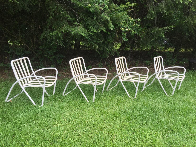 Vintage mid century modern brown jordan set of 4 patio chairs for Brown jordan lawn furniture
