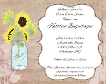 CUSTOM INVITATION - Rustic Sunflower Mason Jar Design