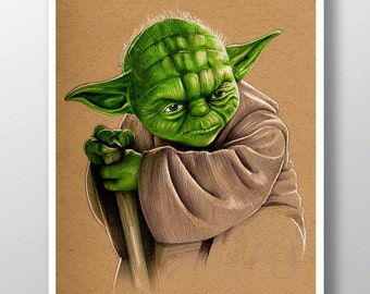 Yoda from Star Wars  - Illustrated Giclee Print