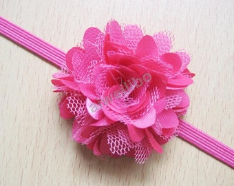 Mesh Flower Headband, Newborn Headband, Baby Headband, Elastic Headband