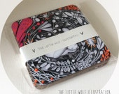 Coasters, set of four in The Little Wolf Illustration Sleeping Bunny design