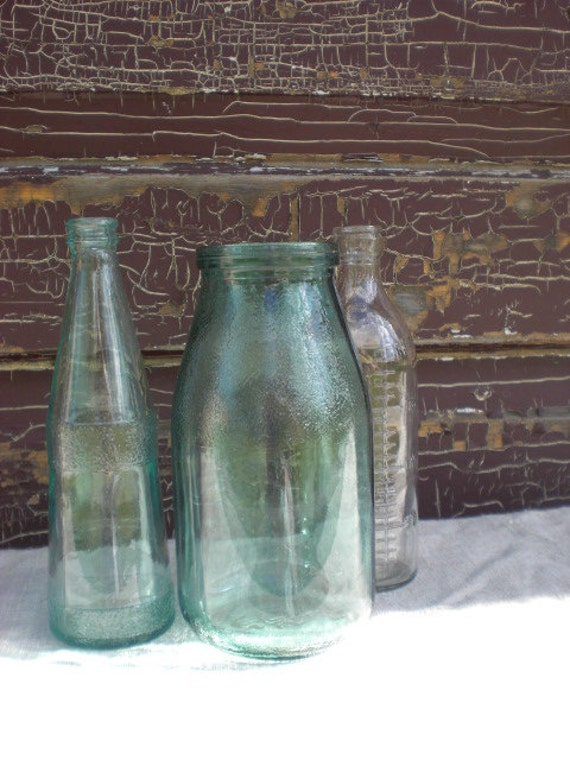 Antique old dairy bottle green blue glass table centerpiece