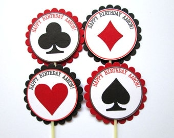 Casino Cupcake Toppers, Personalized Vegas Cupcake Toppers, Casino Party Cupcake Toppers, Poker Cupcake Toppers, Set of 20