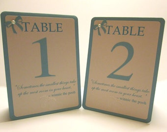 5 Blue Boy Baby Shower Table Numbers, Baby Shower Table Cards, Double Sided, Tented, Baby Shower Decor