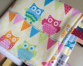 Modern Owl Girl Ribbon Blanket