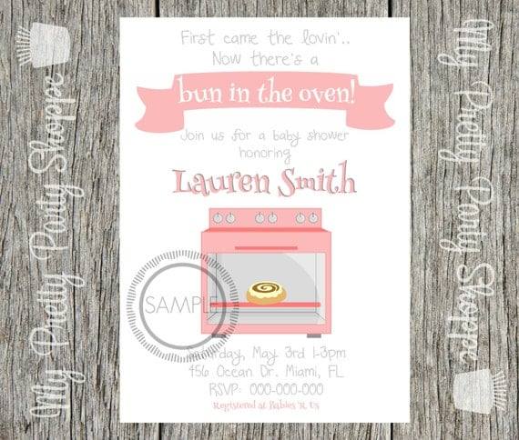 bun in the oven baby shower invitation