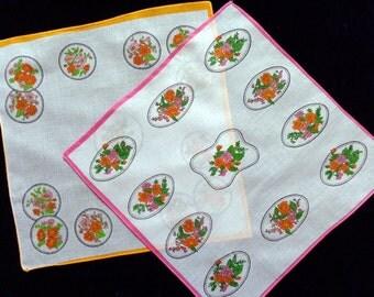 Vintage cotton floral handkerchiefs set of two