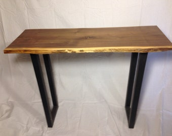 Live edge walnut slab table modern industrial hall sofa table