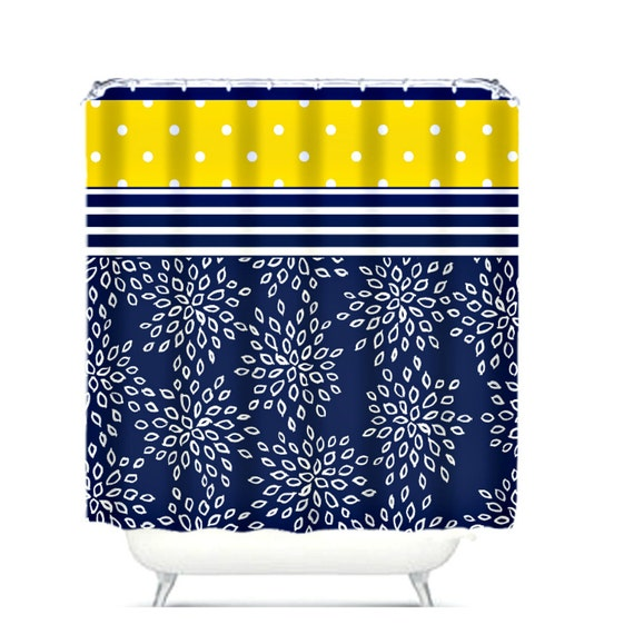 Shower curtain navy blue white floral yellow polka by folkandfunky