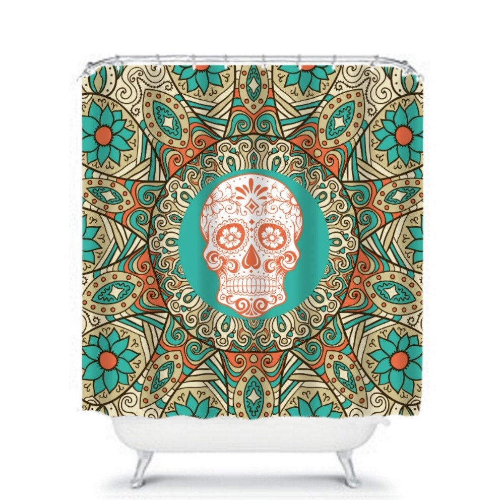 sugar skull shower curtain turquoise coral retro by