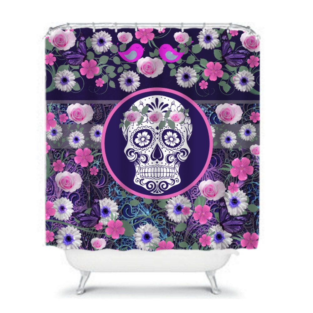 sugar skull shower curtain roses daisies butterfly by folkandfunky. Black Bedroom Furniture Sets. Home Design Ideas