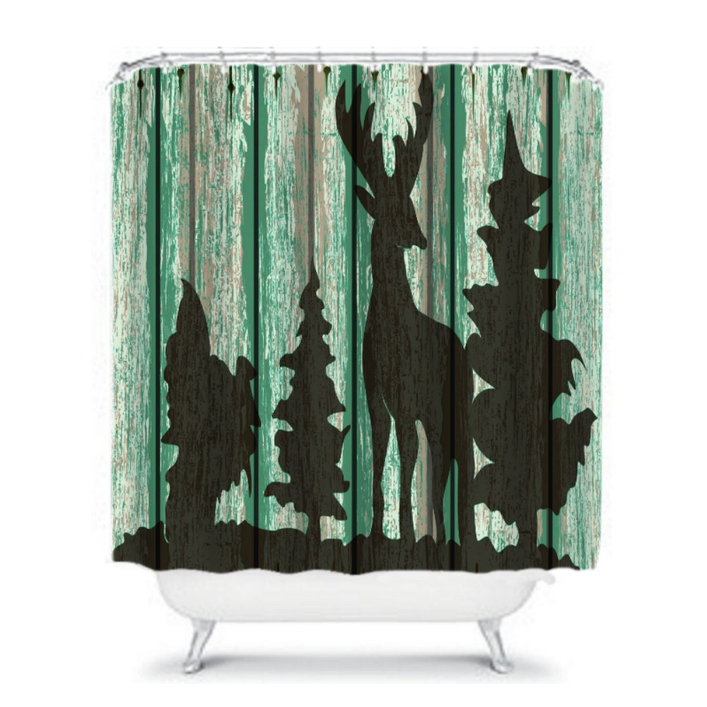 Shower Curtain Rustic Primitive Deer Weathered by FolkandFunky