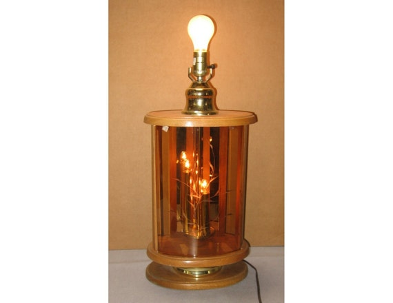 Oak And Glass Table Lamps: 1980s Wood & Glass Lamp W/ Nightlight Candles Vintage Table
